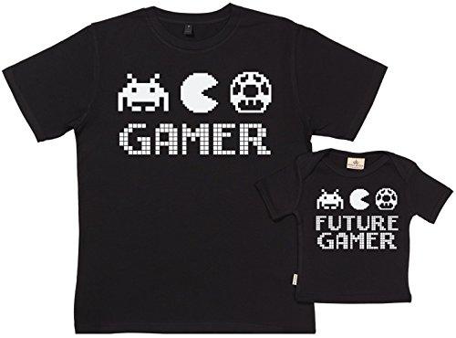 SR - Geschenkpackung Baby Geschenkset - Gamer & Future Gamer Set zur Geburt Vater T-Shirt und Baby T-Shirt in Geschenkbox - Vater Baby Geschenkset in Geschenkbox - Schwarz - L & 6-12M -