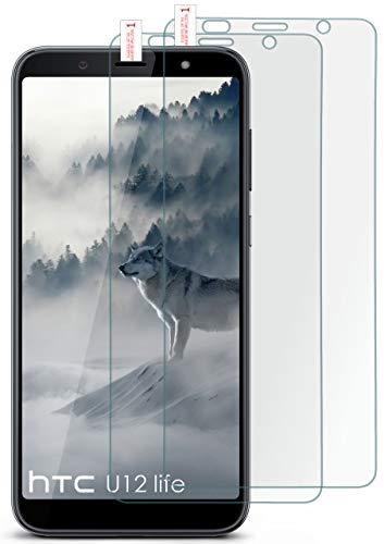 moex 2X 9H Panzerfolie für HTC U12 Life | Panzerglas Bildschirm Glasfolie [Tempered Glass] Screen Protector Glas Bildschirmschutz-Folie für HTC U12 Life Schutzfolie