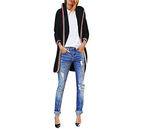 Damen-Strickjacken-Bestop-Damen-Langarm-Strickjacke-Gestreifte-Spitze-Hoodie-Mantel-Vertuschen-Tops-Bluse