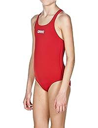 Arena Solid Swim Pro Jr Bañador, Niñas, Rojo (Red / White), 8-9