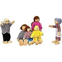 Fulltime(TM) 6 Dolls Cartoon Wooden House Family People Kids Children Pretend Play Gift Toy