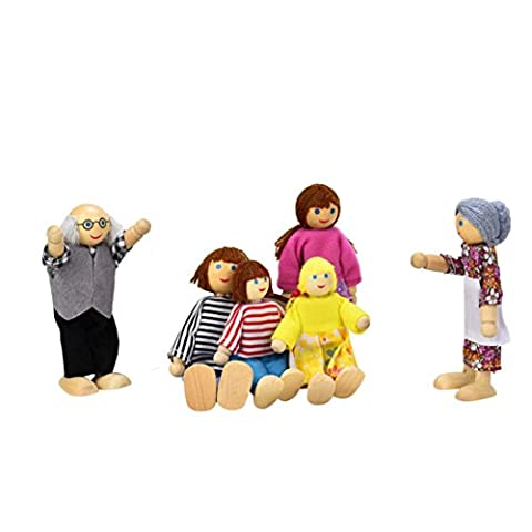 Fulltime(TM) 6 Dolls Cartoon Wooden House Family People Kids Children Pretend Play Gift Toy