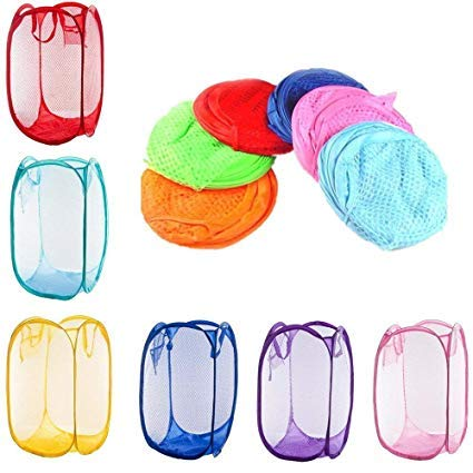 St@llion Laundry Bag Pop Up Mesh Foldable Basket Bin Hample Storage Bag Random Color (Pack of 2)