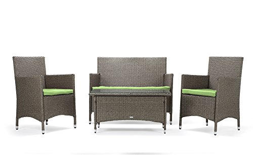 Rattan4Life Sitzgruppe Avignon, 4-teilig Deluxe Polyrattan Gartenmöbel Set, Sofa/Lounge/Gartengarnitur/Kissenbezüge, Rattan grau/braun, Bezug grün -