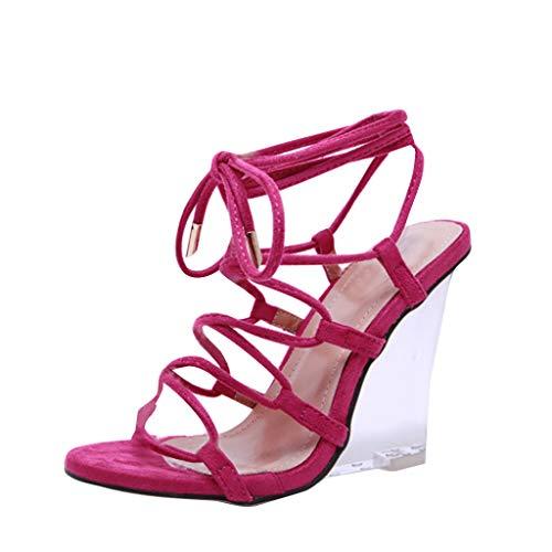 SHE.White Damen Sommer Kristallkeilabsatz Sandalen Sexy Bandage SandalettenTransparente mit abfallendem Absatz aus Kristall zum Anschnallen Sommerschuhe 35-40