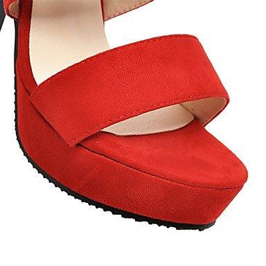 LvYuan Damen-Sandalen-Hochzeit Büro Kleid Lässig Party & Festivität-Vlies maßgeschneiderte Werkstoffe-Blockabsatz-Komfort Neuheit-Schwarz Rot Red