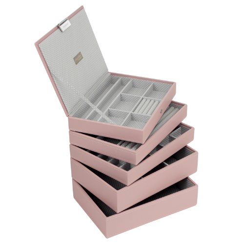 stackers-set-of-5-classic-size-soft-pink-stacker-set-of-5-jewellery-box-with-grey-spotted-lining