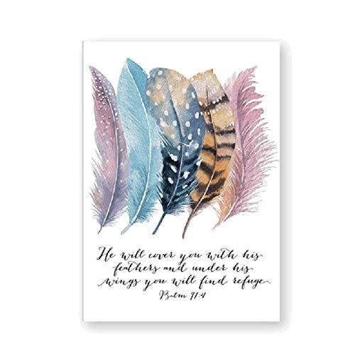 xwwnzdq Bibel Vers Psalm 91: 4 Poster Leinwand Kunstdrucke, Vögel Federn Schrift Christliche Zitate Leinwand Malerei Wandkunst Wohnkultur 60x80 cm Kein Rahmen