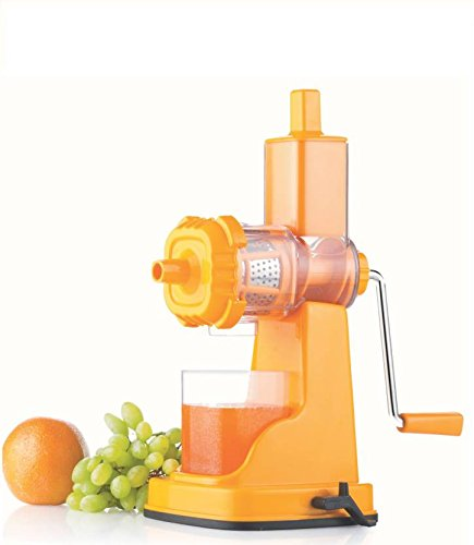 Pure Kitchenware Plastic Fruit and Vegetable Manual Juicer with Steel Handle (Orange)