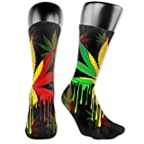 Reggae Rasta Marijuana Leaf Weed Over-The-Calf Socks Athletic Socks Knee High Socks For Men Women Sport Long Sock Stockings 40CM