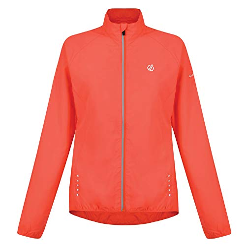Dare 2b Women's Exhultance Water Repellent and Wind Resistant Reflecive Windshell Jacket, Fiery Coral, Size 14