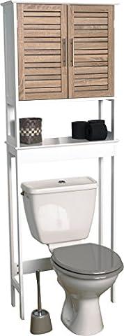 Meuble dessus toilettes WC 2 portes Aspect Chêne vieilli
