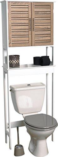 #Badezimmerregal für über die Toilette – 2 Türen und 1 Ablagefläche – Effekt : Gealterte Eiche#