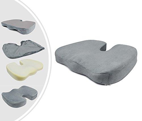 Leogreen - Orthopädisches Sitzkissen, Orthopädisches Steißbeinkissen, Grau, Größe: 45 x 35 x 7 cm, Gewicht: 0,42 kg