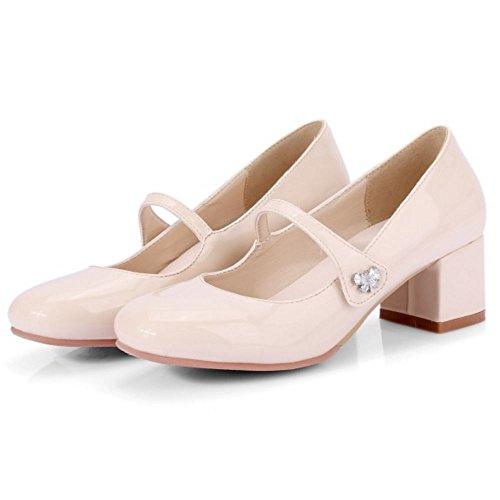 TAOFFEN Damen Mode Mid Blockabsatz Mary Janes Pumps Beige