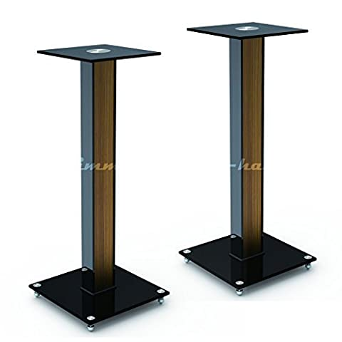 """AUDIO123 BS-03M Aluminum Glass and Wood Bookshelf Speaker Stand 23.6"""" with floor spikes set of 2"""