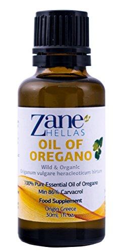 ZANE HELLAS Wild Pure Greek Essential Oil of Oregano with 86 Percent Minimum Carvacrol, 129 mg Carvacrol Per Serving, 1 fl. oz. 30 ml. Super 100