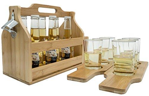r aus Holz mit Öffner und Samplerbrettern, Getränkehalter für Bier, Soda, perfekt für Bar, Pub, Restaurant, Brew Fest Party und mehr, Bambus ()