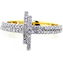 MidwestJewellery.com-Anelli da donna in oro giallo 10 K-Anello Cross Sidways 10Cttww 3/12 mm, 0,3Cttw I, J,)