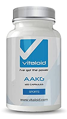 AAKG (L-Arginine Alpha-Ketoglutarate) Vitaloid Amino Acid Arginine Pre Workout Supplement - Increase Nitric Oxide N.O. - Build Lean Muscle at Crossfit and Bodybuilding - Weight Lifting Performance - Massive Gains - Energy Booster - 120 Tablets - Nitric Ox