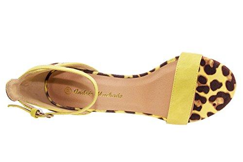 Andres Machado. AM5037.Sandales Bracelet Soft.Pour Femmes.Toutes les Pointures du 32 au 45. Jaune