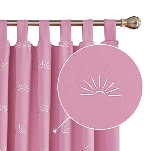 Deconovo Thermogardine Verdunkelungsvorhang Schlaufen Gardinen Schlaufenschal 175x140 cm Pink 2er Set