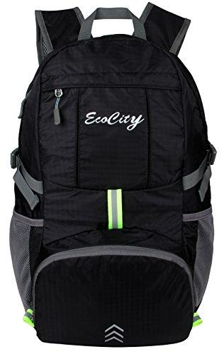 Imagen de ecocity ultra ligero 30l ripsto risistente contra agua doblable excursionismo daypacks viaje backpack  para camping,excursionismo,trekking,montaña y escalada con sistema de hidratacion, negro