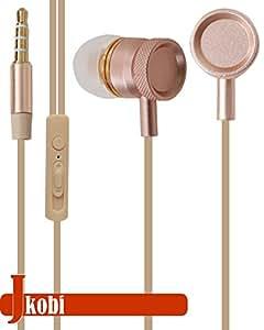 Jkobi Superior Quality Metal Body Stereo Earphone Headset Compatible For Lenovo S850 -Gold