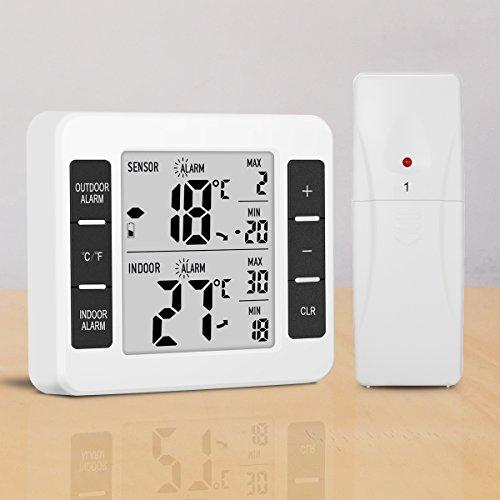 Digitaler Thermometer, GLISTENY Innen und Außen Thermometer , Kühlschrankthermometer,Temperaturalarm, mit Funk-Außensensor und LCD Display °C/°F, MAX/MIX Aufzeichnungen,  für Hotel-Kühlraum | Zuhause | Büro