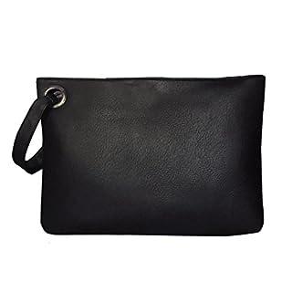 AiSi Oversized Leather Clutch Bag Purse Retro Envelope Evening Wristlet Handbag, Black