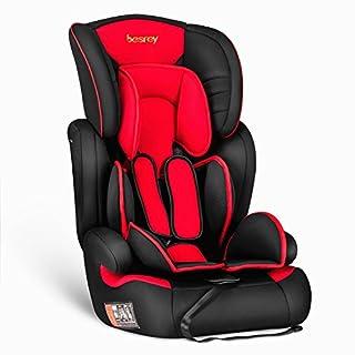 Besrey® 3 in 1 Autokindersitz Autositz Kinderautositz 9-36 kg Gruppe 1 2 3 nach ECE R44/04 - Schwarz&Rot