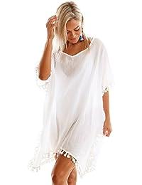 Boldgal Girl's One Piece Swimwear Tassel Cover-up (White)