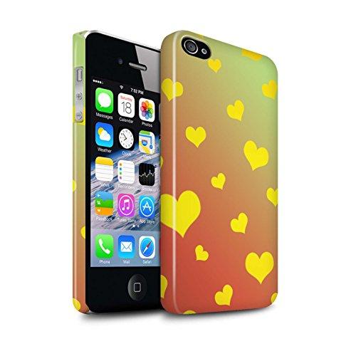 STUFF4 Glanz Snap-On Hülle / Case für Apple iPhone 4/4S / Leuchtende Sterne Muster / Ombre Muster Kollektion Liebe Herz/Gelb