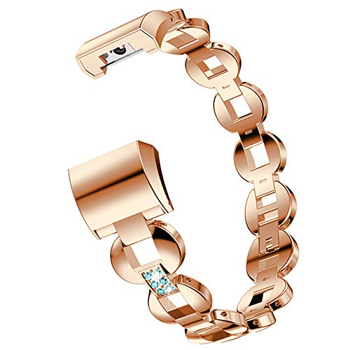 WISLECT Fitbit Charge 2 Band, Edelstahl, Metall Ersatz Bling Strap für Fitbit Charge 2 Smart Fitness Watch (Blue Diamond Rose Gold) Blue Diamond Bling