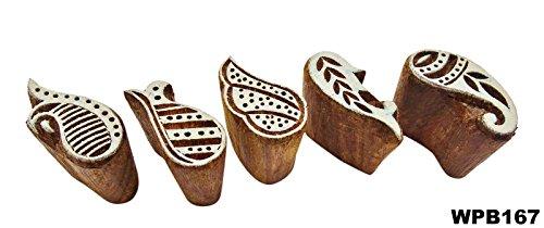 Preisvergleich Produktbild Lot Von 5 Pcs Paisley Handgeschnitzten Block Indischen Hölzernen Druckblöcke Textil Stempel Holz Braun Stamps Dekorative Stück Kunst Tattoo