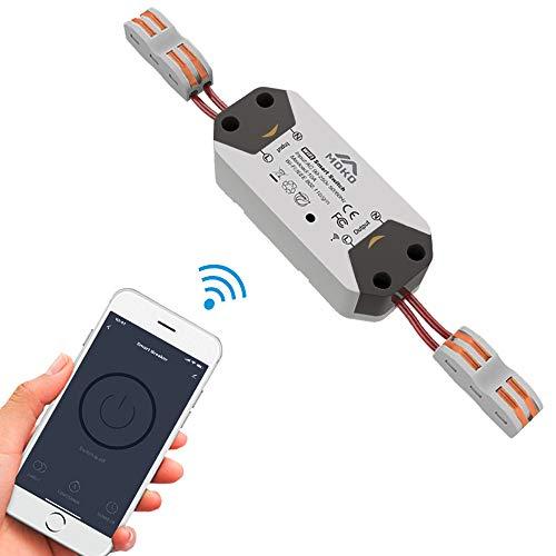 MoKo Smart WLAN Lichtschalter, 10A Wifi Intelligente Schalter Drahtlose Relay Smart Home Switch Kompatibel mit Alexa Google Home IFTTT, Wireless Timer Funktion APP Fernsteurung Sprachsteuerung