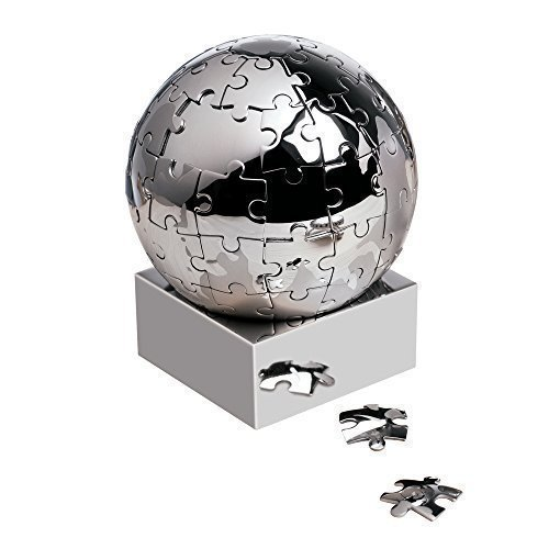 Preisvergleich Produktbild Magnetisch Metall Edelstahl Welt Puzzle Globus - Tisch Puzzle Papier Gewicht Spiel - Führungskraft Geschenk