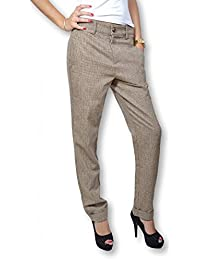 Lavand – Pantalón para mujer talla baja – Pantalón para mujer telas pie de gallina de color marrón