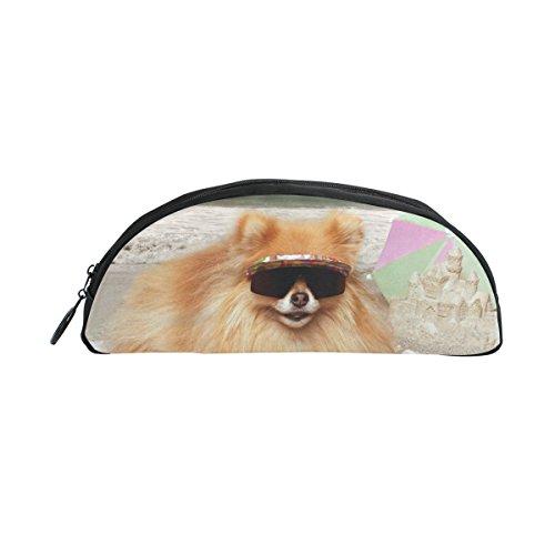 Bleistift Fall Halter Hund Sonnenbrille liegend auf Strandtuch Stift Stationery Tasche Tasche mit Reißverschluss Make-up für Kinder Mädchen Jungen
