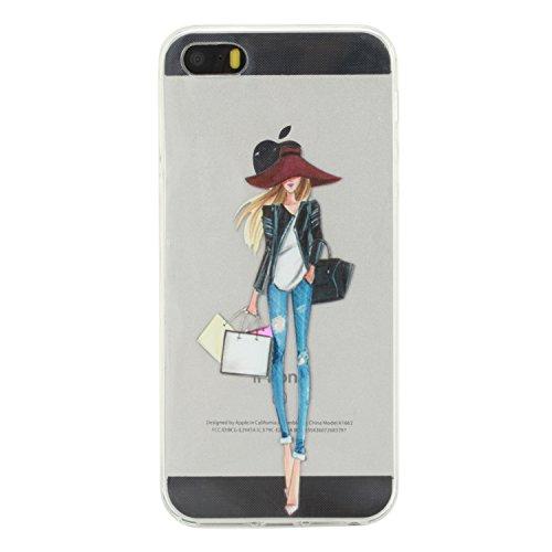 iPhone 5s Hülle Silikon, LuckyW TPU Handyhülle für Apple iPhone 5 5S SE Soft Silikon Tasche Transparent Schale Clear Klar Hanytasche Durchsichtig Rückschale Ultra Slim Thin Dünne Schutzhülle Weiche Fl Mädchen