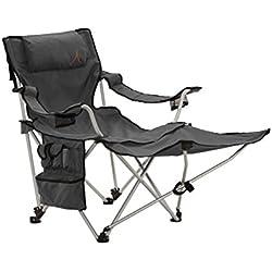 Grand Canyon Giga - silla de camping plegable con apoyapiés, aluminio gris/negra, 308019