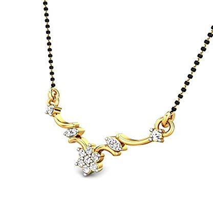 Candere By Kalyan Jewellers Marilyn 14k Yellow Gold and Diamond Mangalsutra Necklace