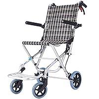 SXTYRL Aluminium Reise Rollstuhl Kleiner Faltbarer Reiserollstuhl ultraleichtes Mobilitätsgerät Rollator mit hochklappbaren Armlehnen und Sicherheitsgurt-Wiegt nur 7kg,A
