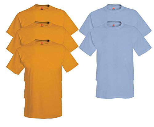 Hanes Men's Tagless Comfortsoft Crewneck T-shirt (Pack of 5) 3 Gold / 2 Light Blue