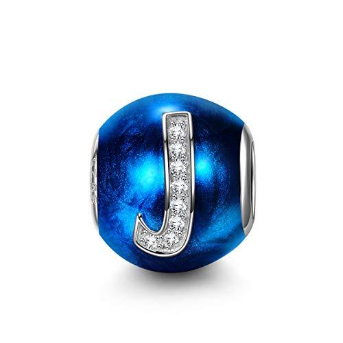 NINAQUEEN Pandora Charms angepasste Charm Geschenk für Frauen Weihnachtgeschenke Buchstaben J Blau Silber 925 Zirkonia Emaille Schmuck Damen mit Schmuckkästchen Damen Geschenke für Mama