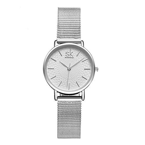 Damen Armbanduhr Analog Quarz Ultra Dünne Edelstahl Milanaise Armband Silber