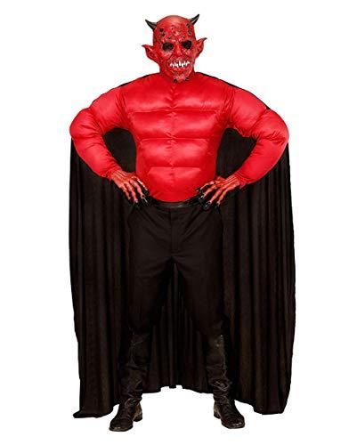 Teufels Herrenkostüm aus Muskelshirt und Umhang für Halloween & Karneval XL