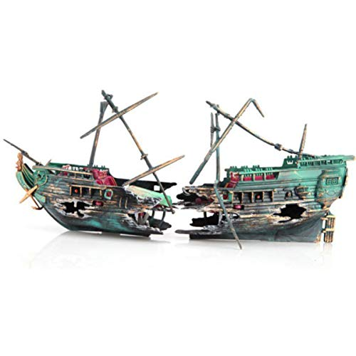 Ponacat versunkenen Schiffswrack Aquarium Schiffbruch mit Masten Rettungsboot Aquariumdeko Halb Schiffbruch Belüften Zierde für Aquarium Zubehör bewegen