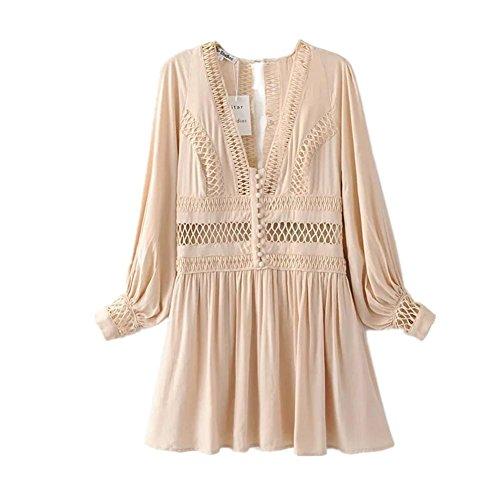 AMYMGLL Frauen-Kleid im europäischen Stil Spitze Laterne langärmelige Polyesterfaser Sommers Tricolor Auswahl Urlaub Windkleid, Naked pink, l