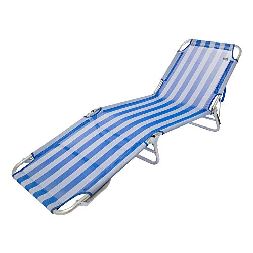 AKTIVE 53957 Tumbona Plegable multiposición Aluminio Beach, 188 x 58 x 24 cm, Azul Oscuro